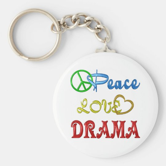 PEACE LOVE DRAMA BASIC ROUND BUTTON KEY RING