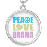 Peace Love Drama Round Pendant Necklace