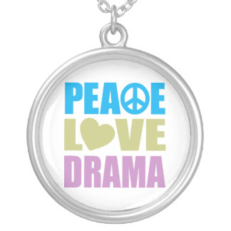 Peace Love Drama Silver Plated Necklace