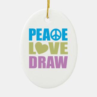 Peace Love Draw Christmas Ornament
