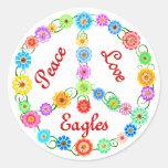 Peace Love Eagles Classic Round Sticker