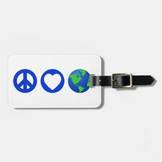 Peace Love Earth Bag Tags