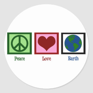 Peace Love Earth Classic Round Sticker