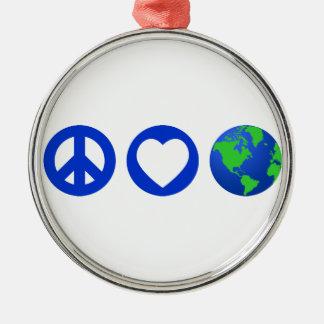 Peace Love Earth Ornament