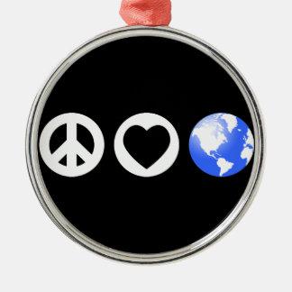 Peace Love Earth Christmas Ornaments