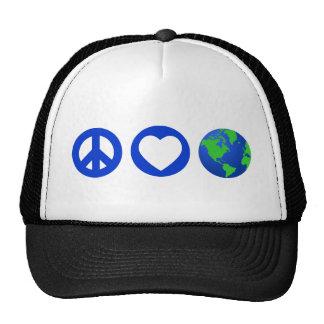 Peace Love Earth Mesh Hat