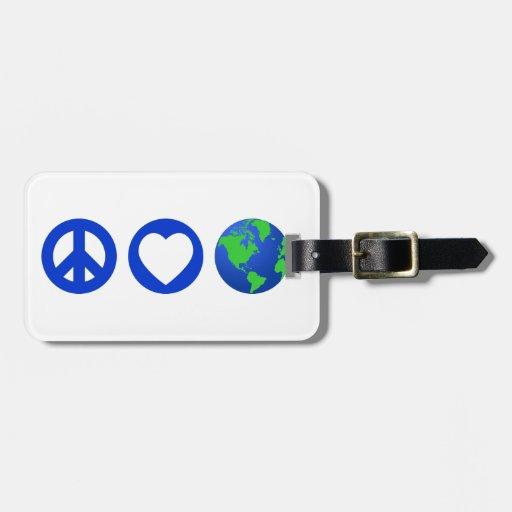 Peace Love Earth Tag For Luggage