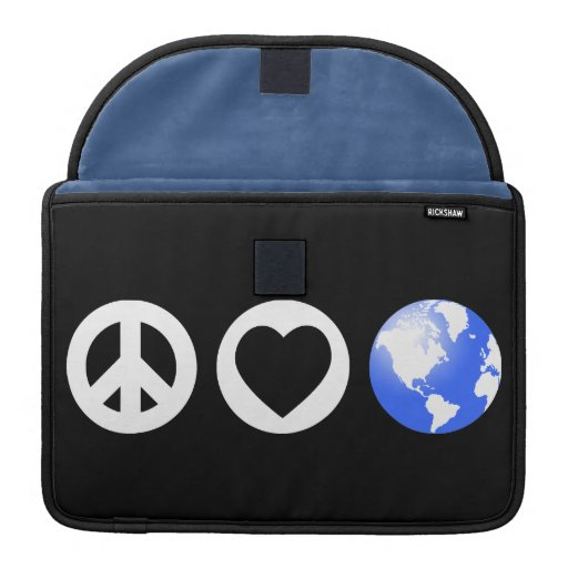Peace Love Earth Sleeves For MacBook Pro