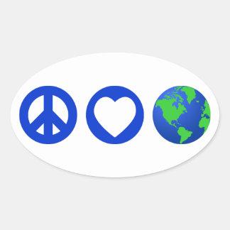 Peace Love Earth Oval Sticker