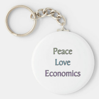 Peace, Love, Economics Basic Round Button Key Ring