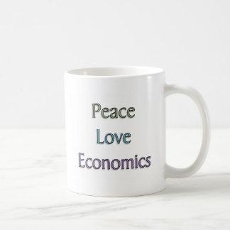 Peace, Love, Economics Basic White Mug