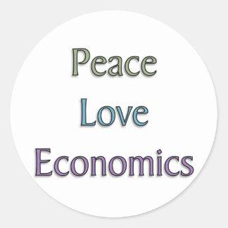Peace, Love, Economics Round Sticker