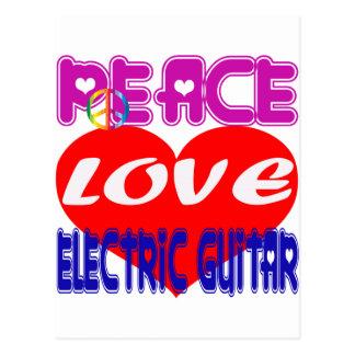 Peace Love electric guitar Postcard