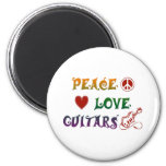 Peace Love Electric Guitars rainbow 6 Cm Round Magnet
