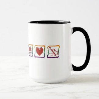 Peace Love Electric Guitars rainbow squares Mug