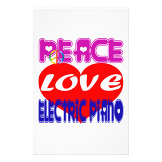 Peace Love electric piano Stationery Paper