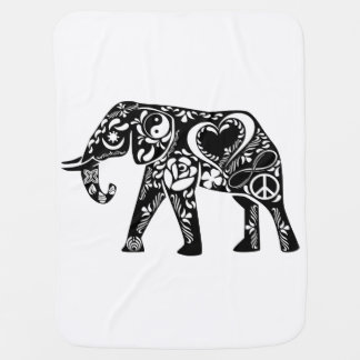 Peace Love Elephant Baby Blanket