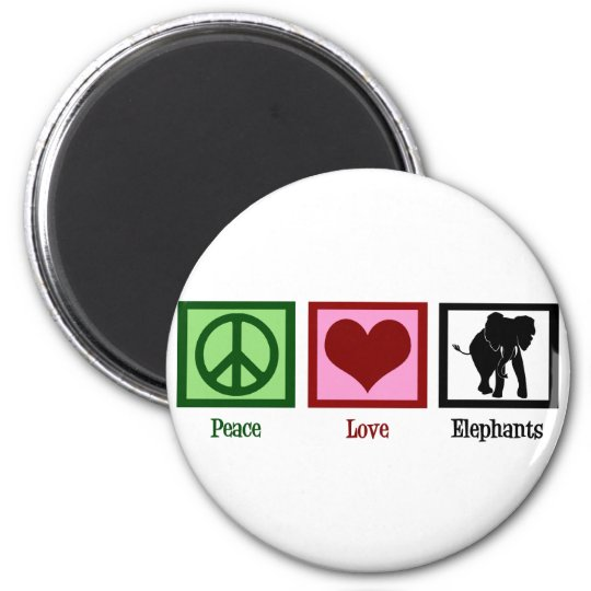 Peace Love Elephants 6 Cm Round Magnet