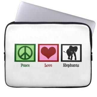 Peace Love Elephants Laptop Sleeve