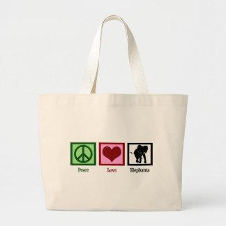 Peace Love Elephants Large Tote Bag