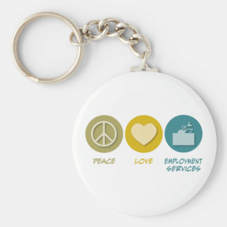 Peace Love Employment Services Basic Round Button Key Ring