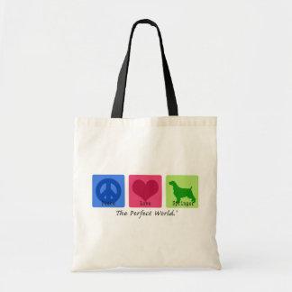 Peace Love English Springer Spaniel Canvas Bag