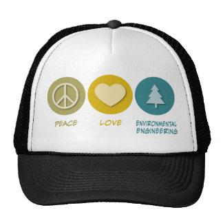 Peace Love Environmental Engineering Trucker Hats
