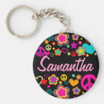 Peace Love & Everything Girly Basic Round Button Key Ring