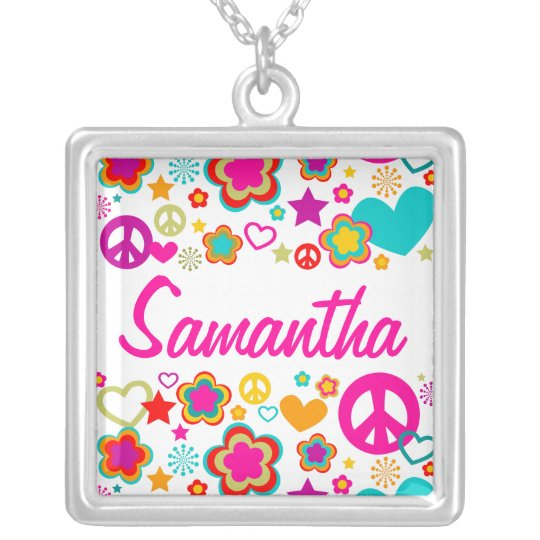 Peace Love & Everything Girly Silver Plated Necklace