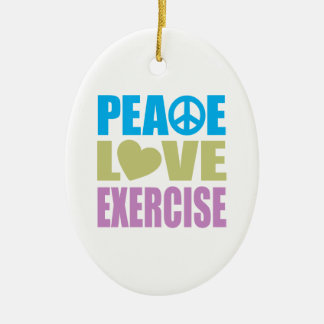Peace Love Exercise Christmas Ornament