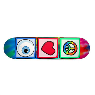 Peace, Love, Eyeball Custom Skateboard