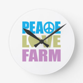 Peace Love Farm Round Clock