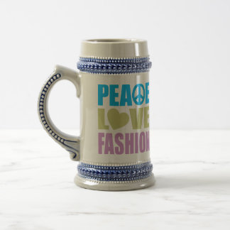Peace Love Fashion Beer Steins