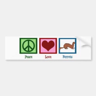 Peace Love Ferrets Bumper Sticker