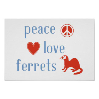 Peace Love Ferrets Poster