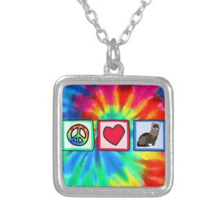 Peace, Love, Ferrets Silver Plated Necklace