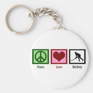Peace Love Field Hockey Basic Round Button Key Ring