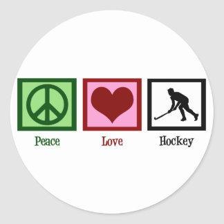 Peace Love Field Hockey Classic Round Sticker