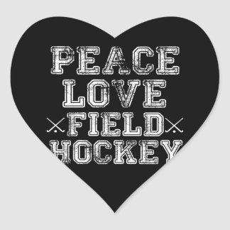 Peace, Love, Field Hockey Heart Sticker