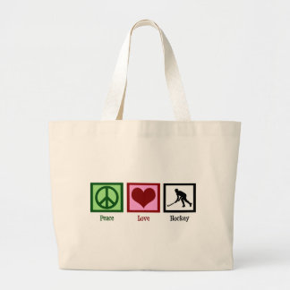 Peace Love Field Hockey Large Tote Bag