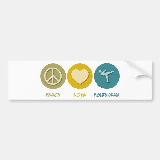 Peace Love Figure Skate Car Bumper Sticker