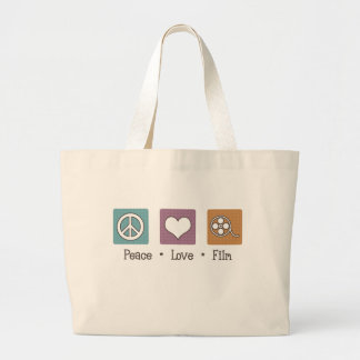 Peace Love Film Large Tote Bag