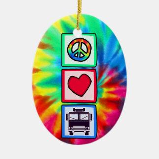 Peace, Love, Fire Trucks Ceramic Oval Decoration