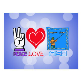 PEACE LOVE FISH POSTCARD