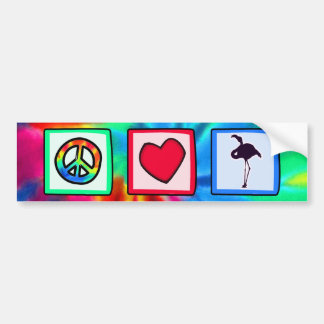 Peace, Love, Flamingos Bumper Sticker