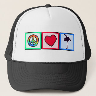 Peace, Love, Flamingos Trucker Hat