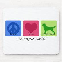 Peace Love Flat Coat Retriever Mousemats