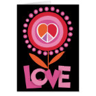 PEACE LOVE flower Greeting Crad Card