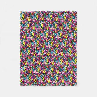 Peace, Love, & Flowers Fleece Blanket