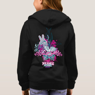 Peace Love & Flowers Graphic Girls Hoodie